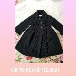 GIRLS COPPER KEY BLACK RUFFLE PEA COAT!